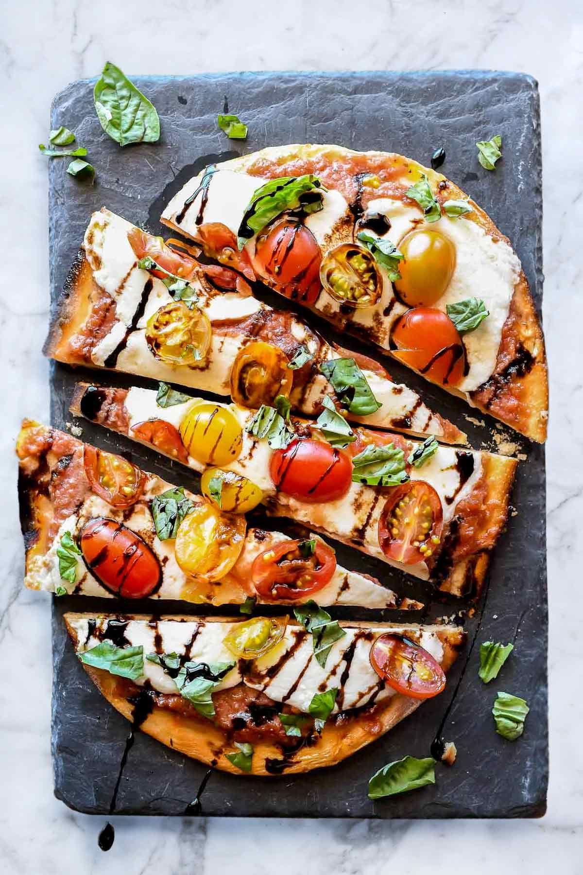 Mozzarella and Tomato Caprese Flatbread | foodiecrush .com