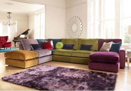 5 Seat Multi Colour Sofa Chaise Like Chaise Ottoman Option Not