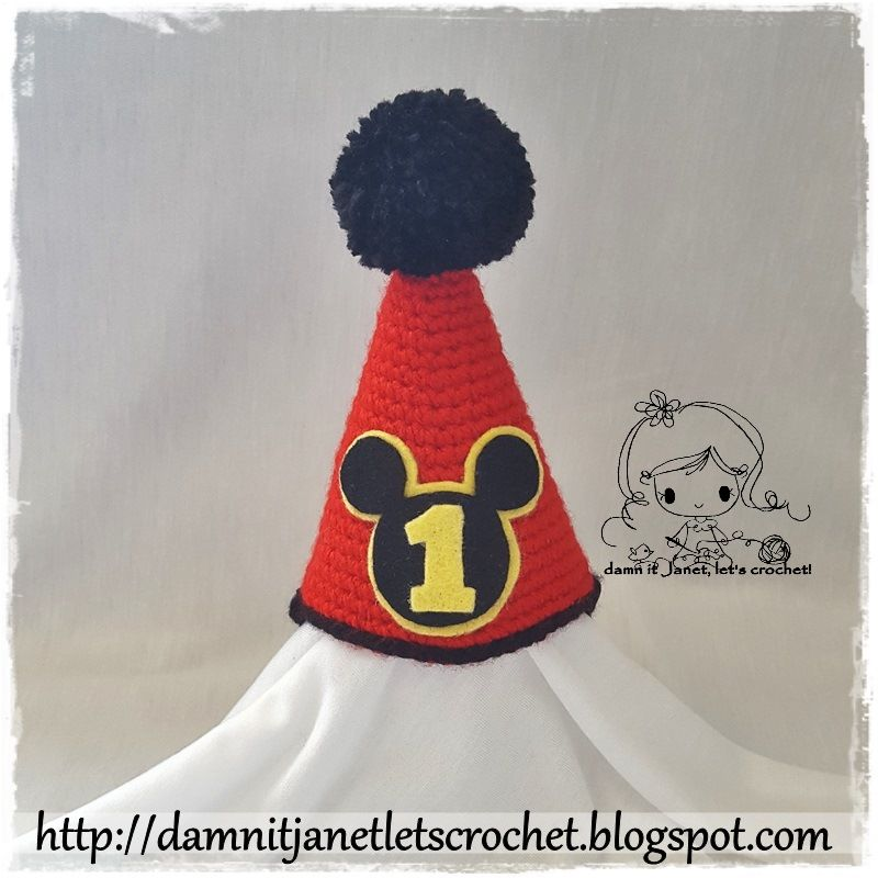 Mickey Mouse Birthday Hat- free pattern | damn it Janet, let\'s ...