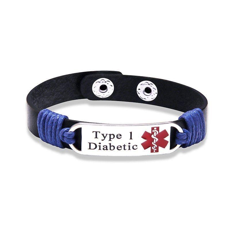 Type 1 Diabetic Medical Id Tag Adjustable Leather Bracelet Etsy Awareness Jewelry Alert Bracelet Medic Alert Bracelets