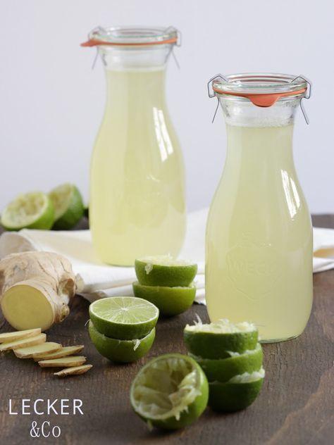 Sommer, Sonne, Sauer, Fruchtig, Frisch – Toni lädt zum erfrischenden Blogevent ein. Das Thema: Zitronen und Limonen. Ich trinke sehr gerne Sirups die ich dann mit kaltem Wasser zu leckeren und erfrischenden Limonaden mische. Und da ich ausserdem momentan total gerne Ingwer-Wasser trinke wollte ich mir den leckeren Sommer-Geschmack auch in einem Sirup verpacken… und …