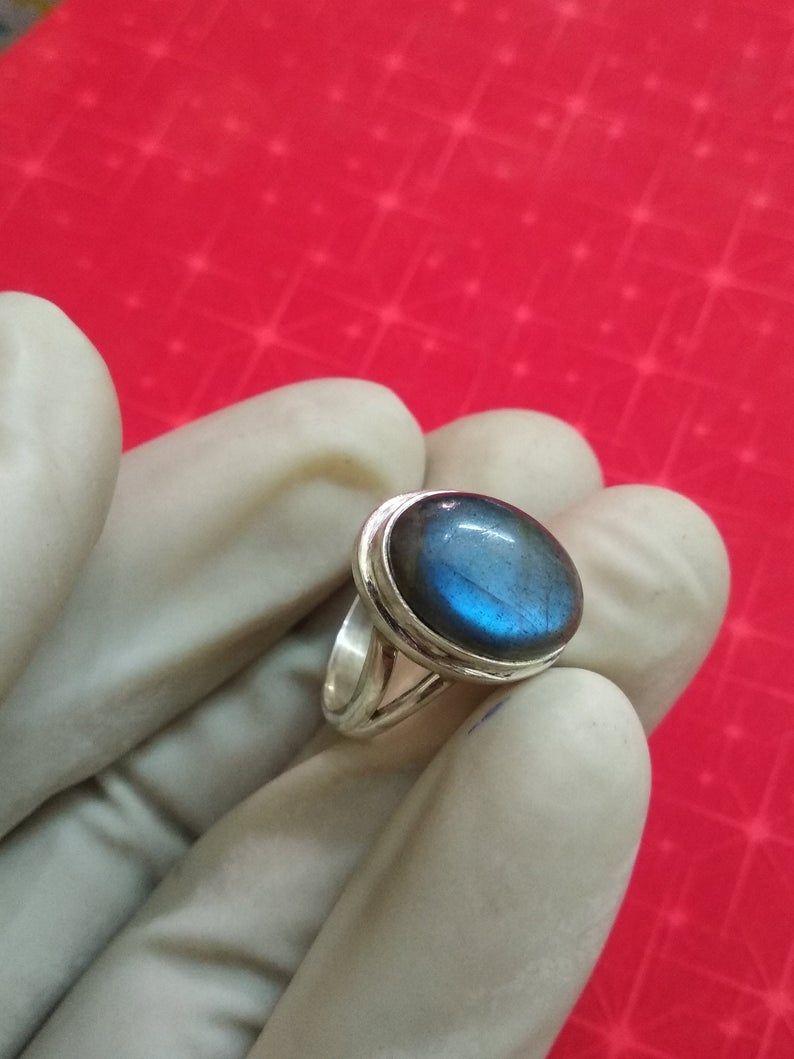 Boho Jewelry Gemstone Jewelry Labradorite 925 Sterling Silver Ring Blue Fire Labradorite Silver Ring Labradorite Handmade Silver Jewelry