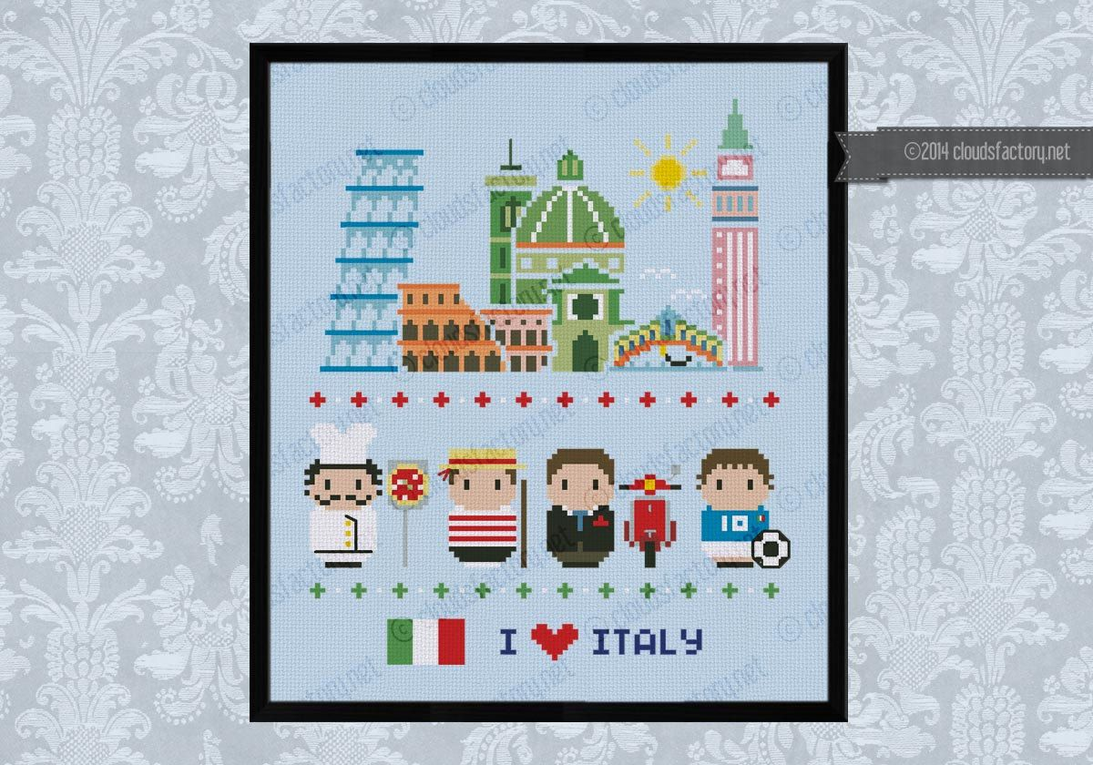 Italy icons Mini people around the world PDF von cloudsfactory