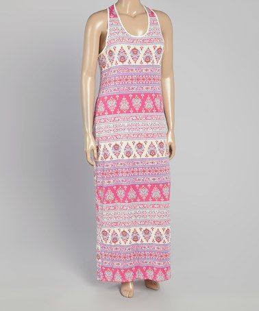 Another great find on #zulily! Pink & Turquoise Geo Racerback Maxi Dress - Plus #zulilyfinds