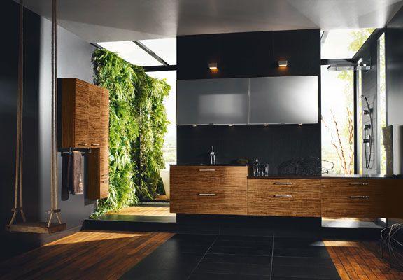 Poubelle Salle De Bain Bambou Avec Couvercle : Simple meubles de salle bains esprit bois bain