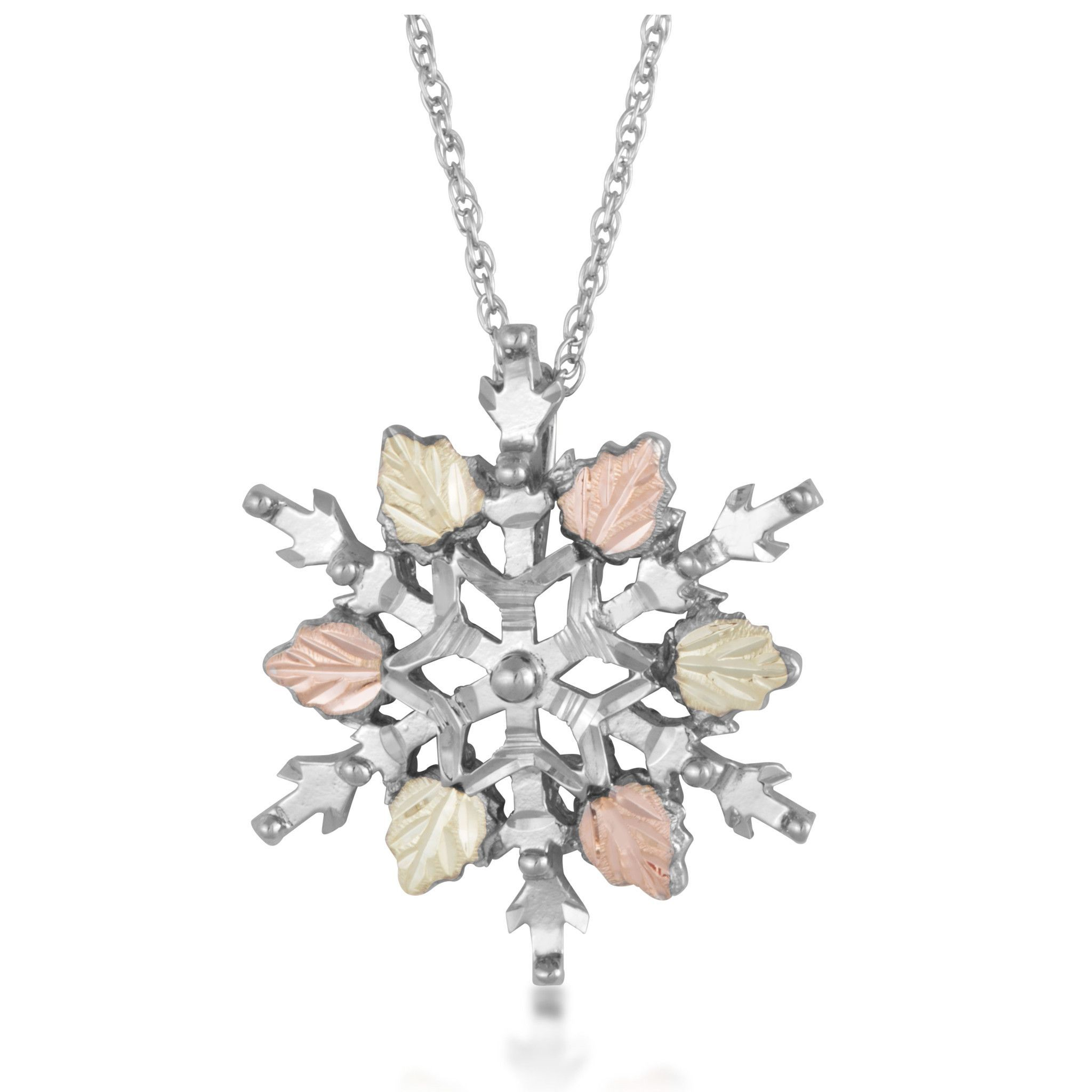 Sterling silver black hills gold snowflake pendant necklace sterling silver gold snowflake pendant necklace aloadofball Images