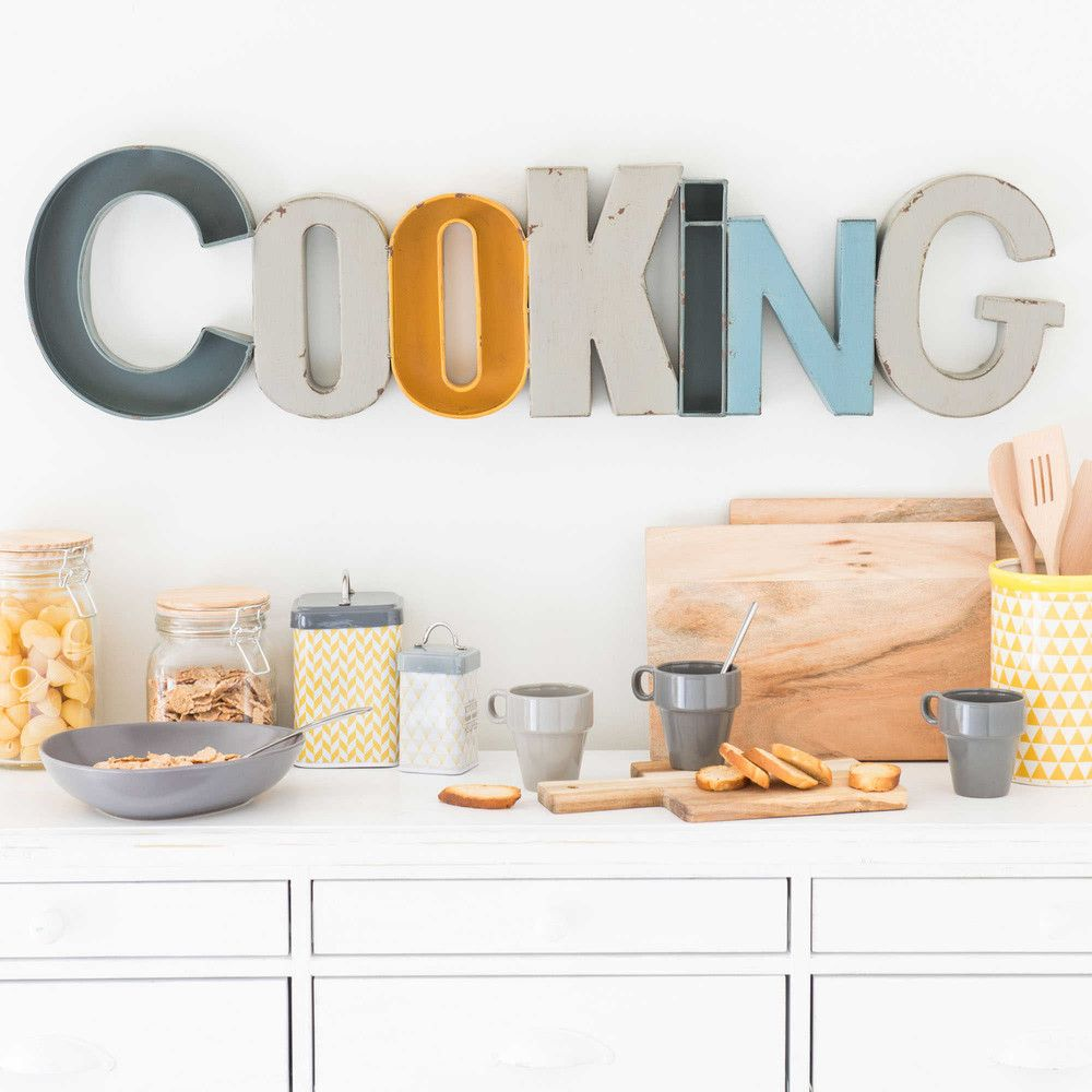 D co murale en m tal l 90 cm cooking maisons du monde for Decoration murale monde