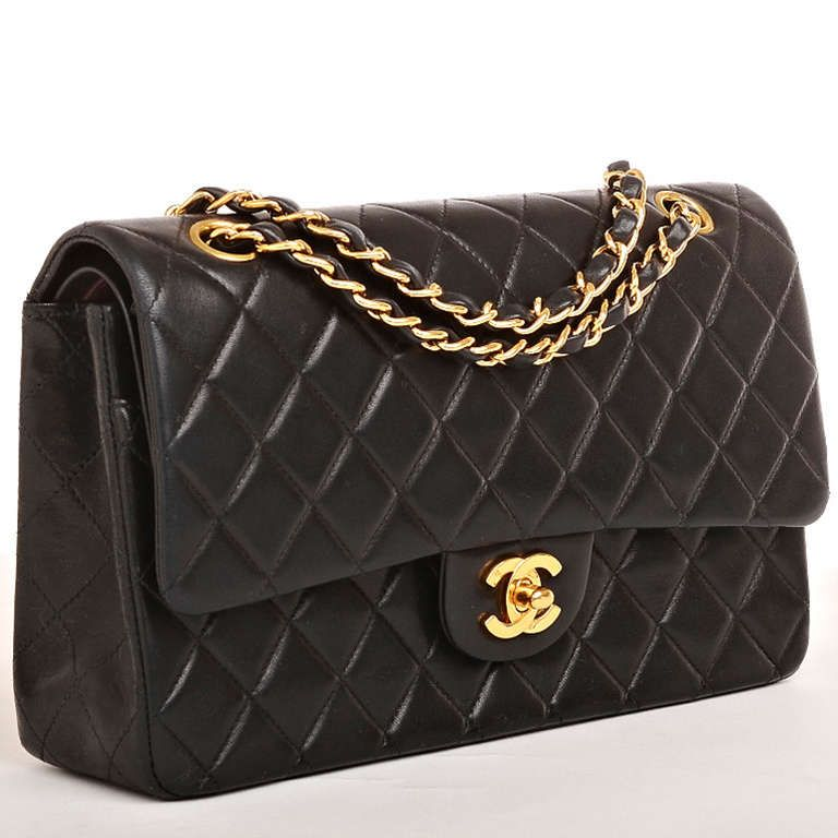 Chanel Black Quilted Lambskin Large Classic 2.55 Double Flap Bag ... : chanel quilted lambskin clutch bag - Adamdwight.com