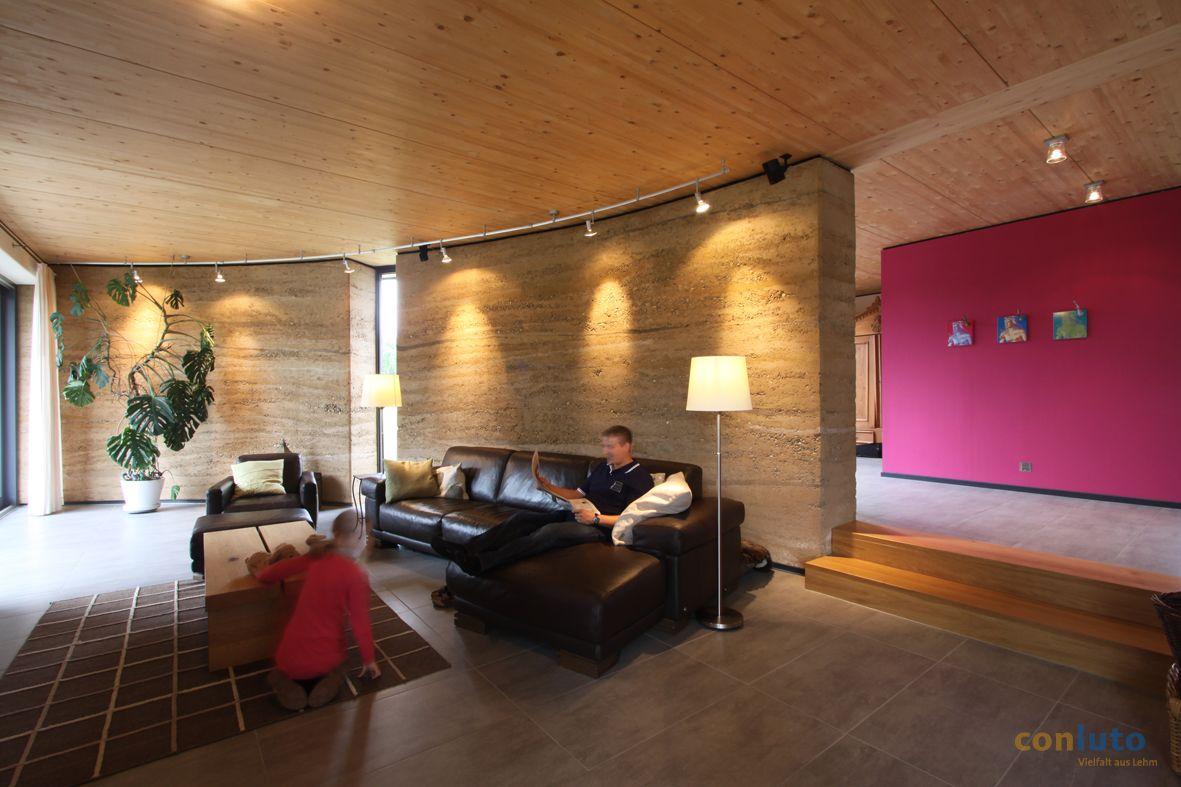 conluto Stampflehmwand auch ganz modern als tragende Wand Innen im ...