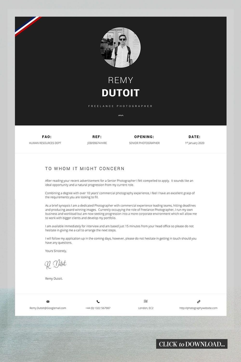 Photographer Resume Creative Resume And Cover Letter Template Word Resume Template Cover Letter Advice Printable For Word Hume Cover Letter Template Letter Template Word Cover Letter Design