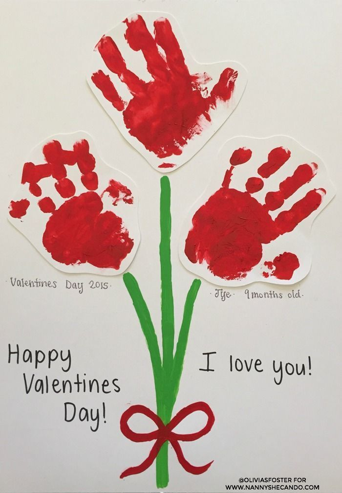 Valentine Crafts Ideas For Kids Part - 43: Stuck For Valentines Day Easy Kids Craft Ideas To Do With Your Nanny Kids?  Make These Baby Handprint Flowers U0026 I Love You To Pieces Cards.