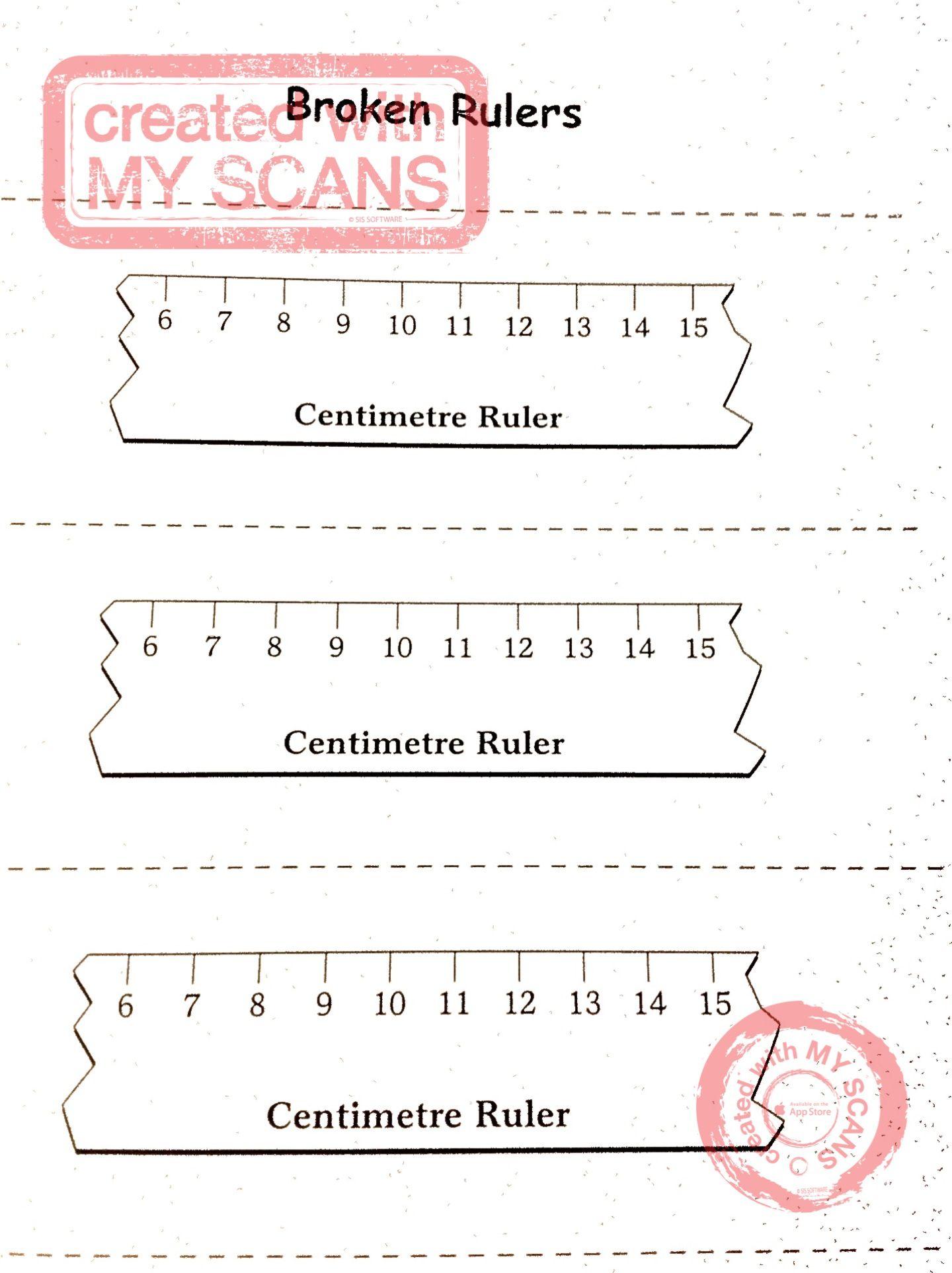 hight resolution of Broken rulers for measuring   5th grade math