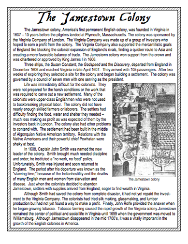 history of james town virginia essay Jamestown remained the capital of virginia until its major statehouse, located on the western end of the island, burned in 1698 the capital moved to williamsburg in 1699, and jamestown began to slowly disappear above the ground.