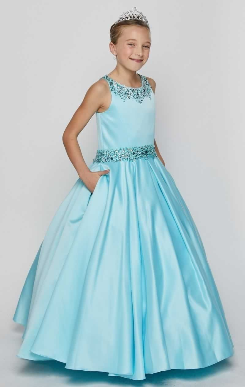 Camela - Dull Satin Long Child\'s Gown in Aqua Blue | Pinterest ...