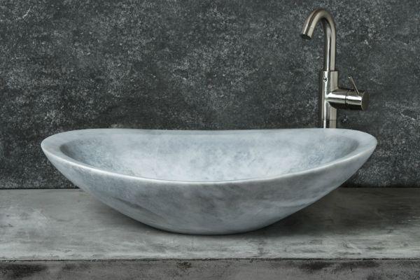 Ovetto new grey lavandino in marmo ovale elegante sinuoso lavabo