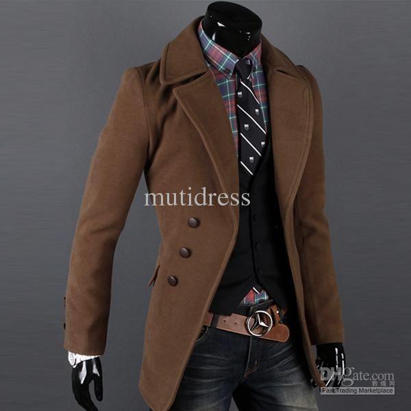 Men Korean Slim Coat Winter Autumn Trench Long Wool Blend Jacket Outwear