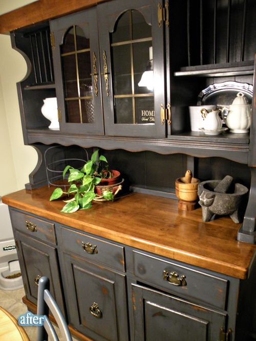 Hutch Makeover Chalk Paint Before After