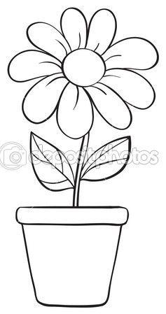 afbeelding een bloem en een schets de pot op een