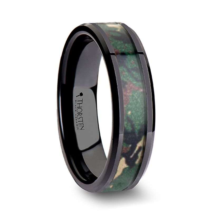 8mm RANGER Beveled Black Ceramic Wedding Ring with Real Military Style Jungle Camo
