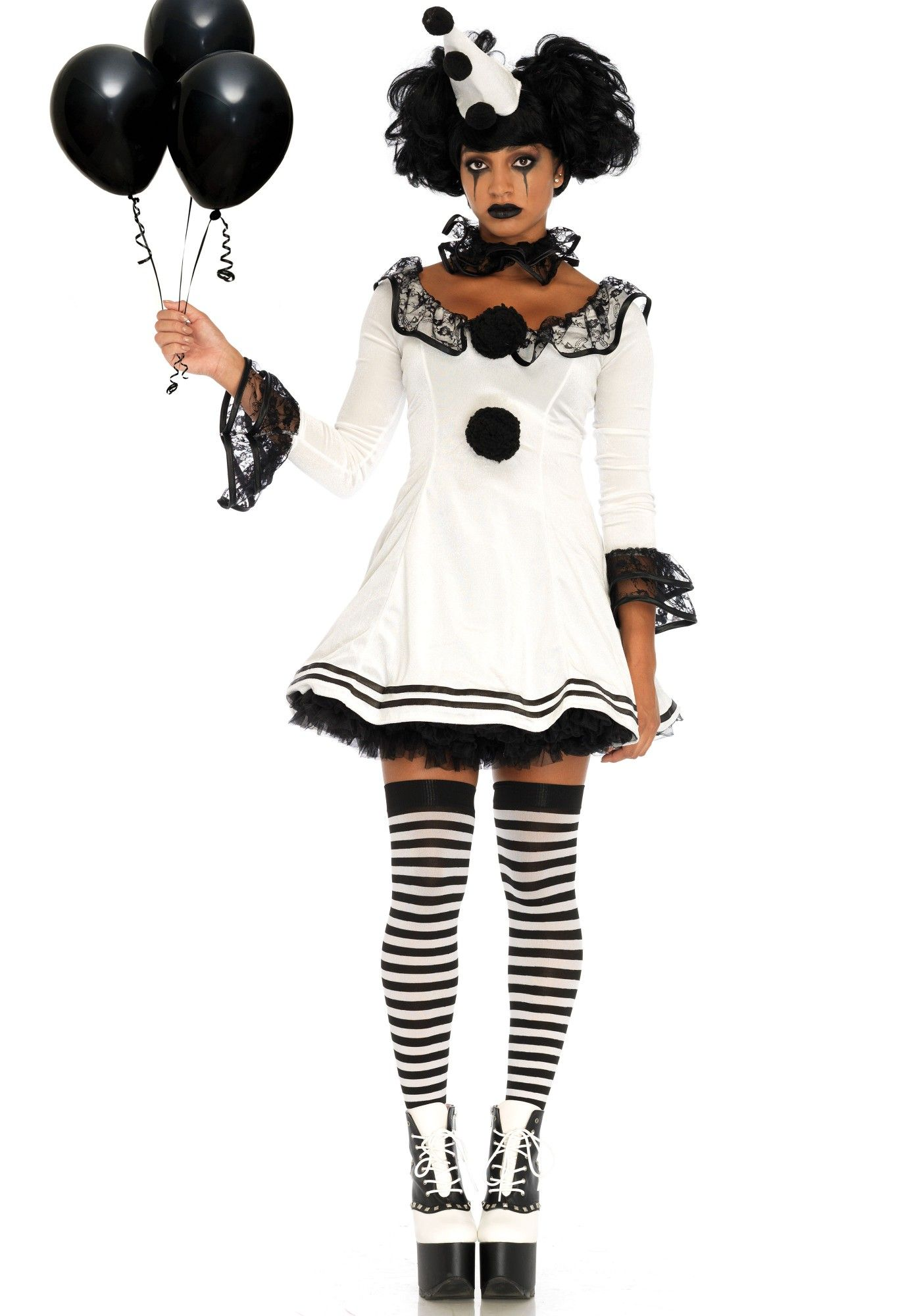 e87a0b7c3c Gorgeous white clown outfit with black pom pom accents and lace trim. The  neck piece and matching hat are included. Fabulous Halloween or Circus  themed ...