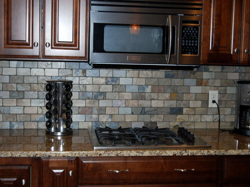 Tile Backsplash Traditional Small Subway Tile Pattern Muted Tones To Match Granite