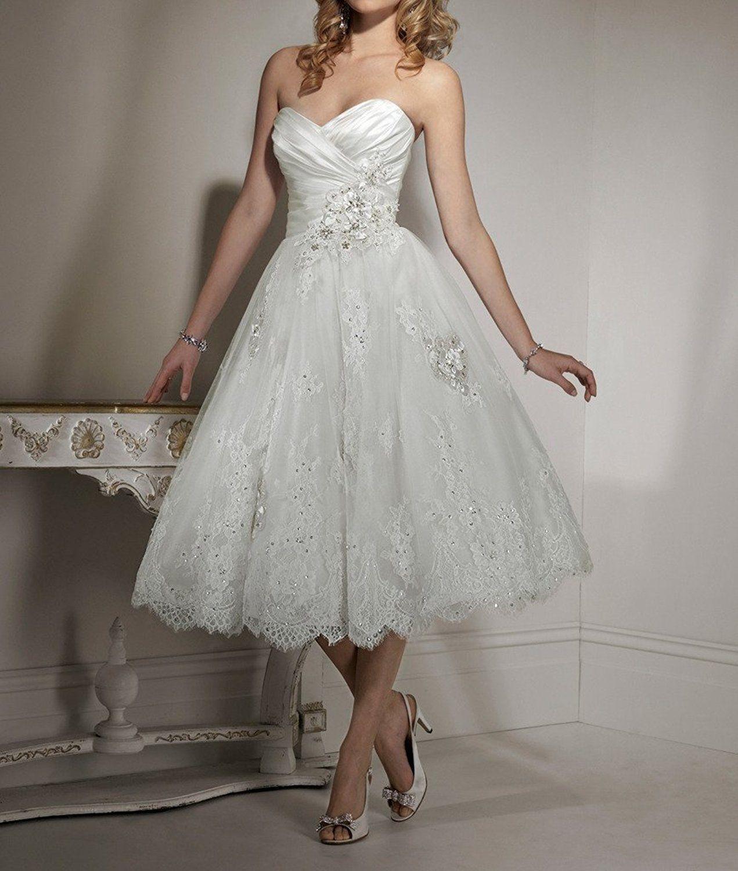 Women S Sweetheart Lace Tea Length Wedding Dresses Bling Beaded Bridal Gowns At Amaz Bridal Gown Trends Short Lace Wedding Dress Wedding Rehearsal Dinner Dress [ 1500 x 1271 Pixel ]