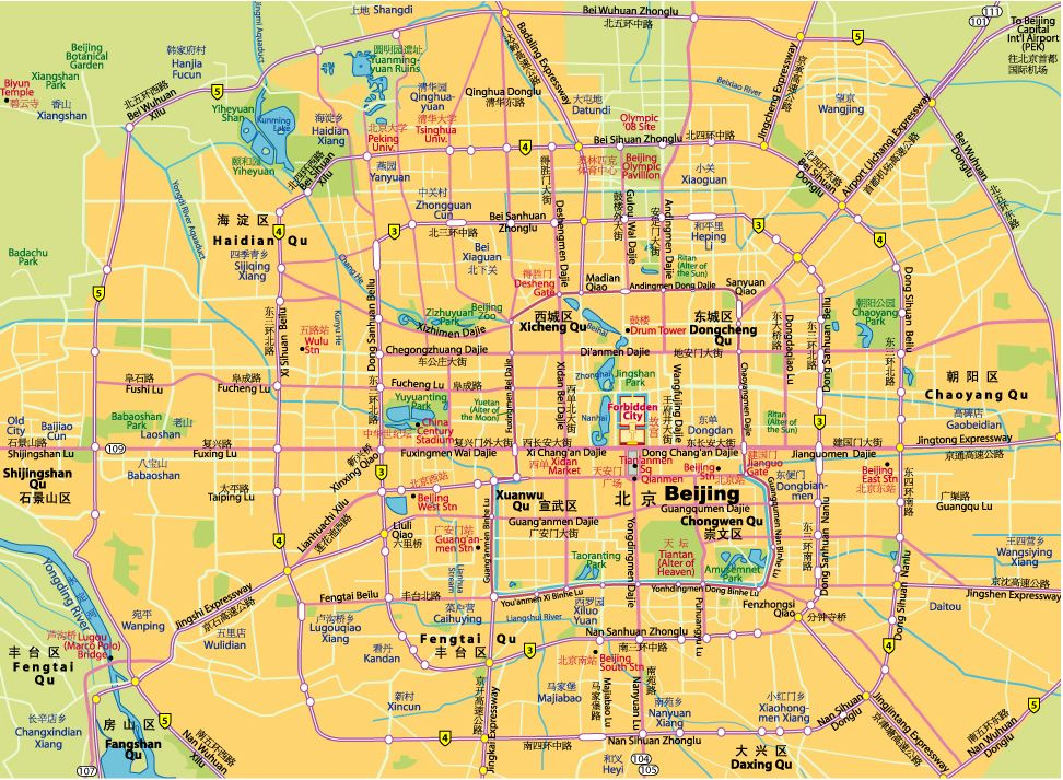 Beijing Maps For Free Download Print Beijing Tourist Map China Travel China Travel Guide