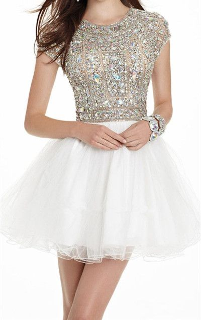 New Arrival Ball Gown Beaded Bodice Open Back Homecoming Dresses