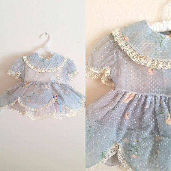 Vintage 1950s Dotted Swiss Baby Dress with Hoop Skirt Slip / Blue Floral / 18 Months-2T Shop at www.etsy.com/Shop/ThriftyVintageKitten