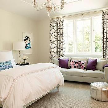 Teenage Girl Bedroom with Gray Sofa as Window Seat