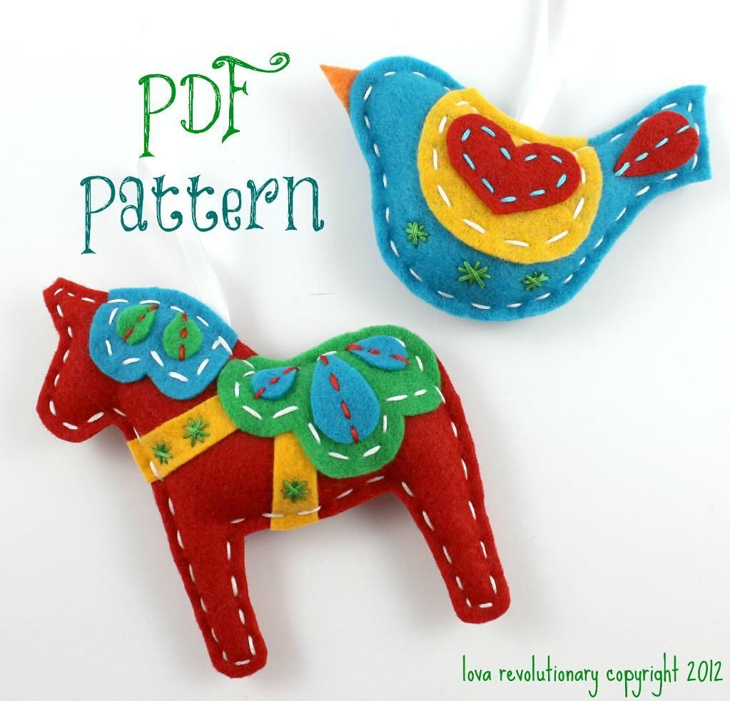 Dala horse hand sewing pattern felt xmas diy tutorial