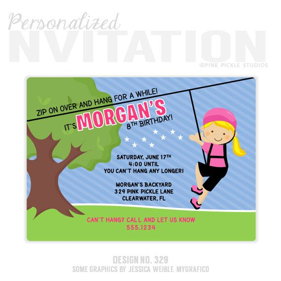 Zip Line Invitation, Zip Line Party, Zipline Birthday