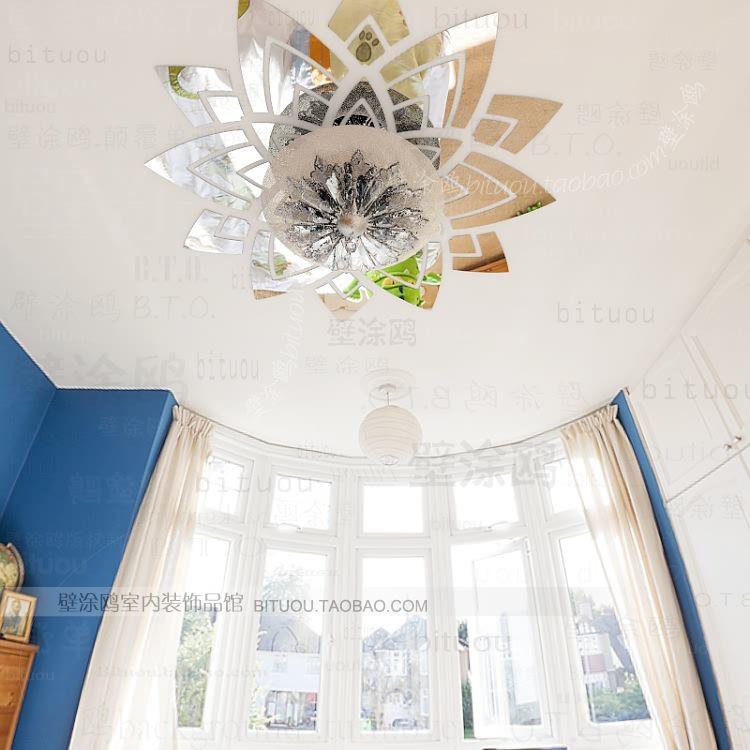 033 Ceiling 3d Vinyl Acrylic Mirror Wall Sticker Home Decor Art Decal Novelty Household Papel De
