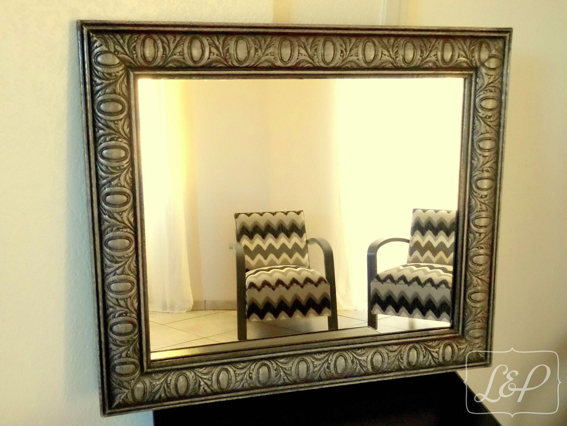 Idée cadeau : Miroir avec cadre ancien en bois, à moulures, patiné ...