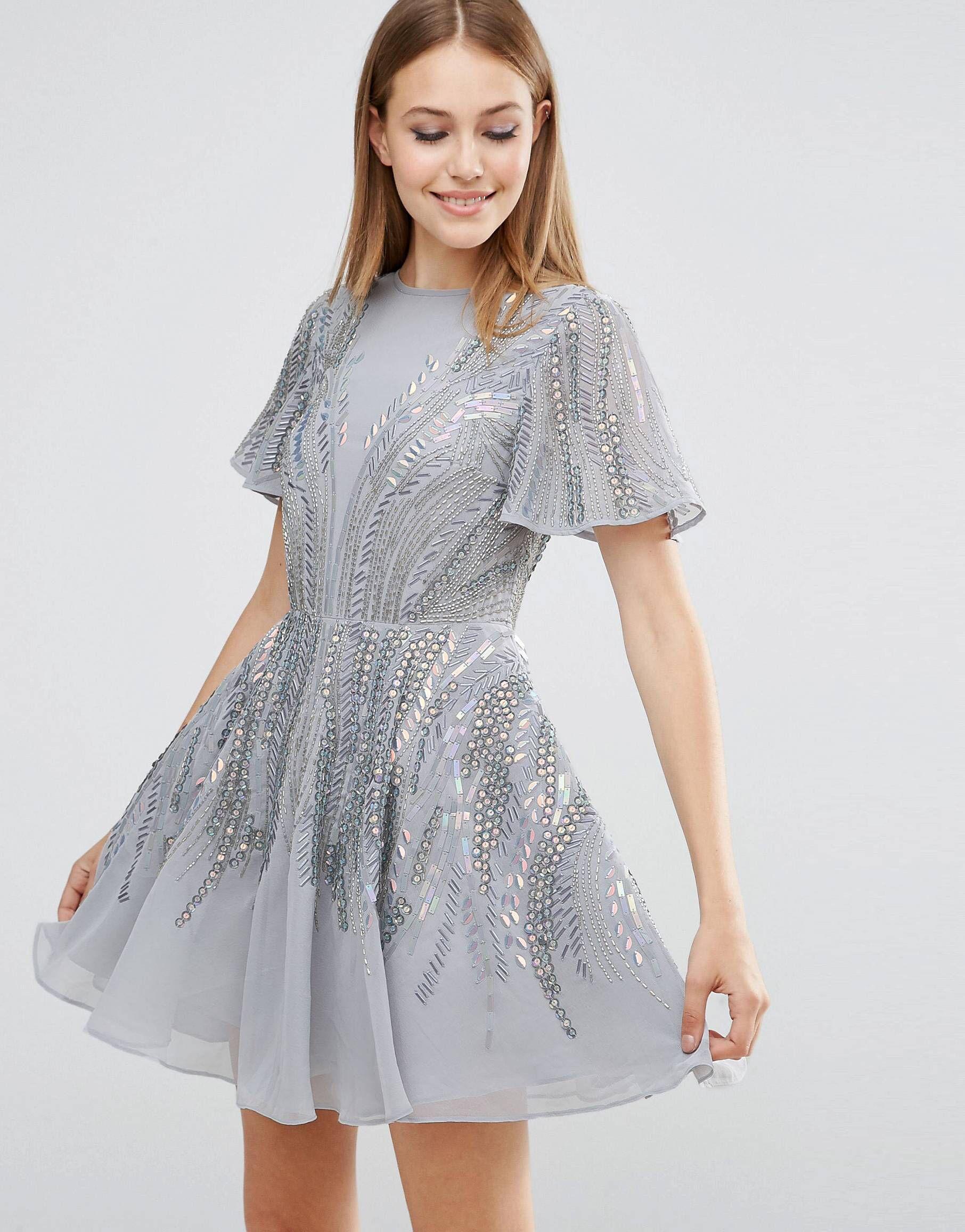 f1ffd5e18c36 Silver sparkle mini skater dress. Grey and embellished.