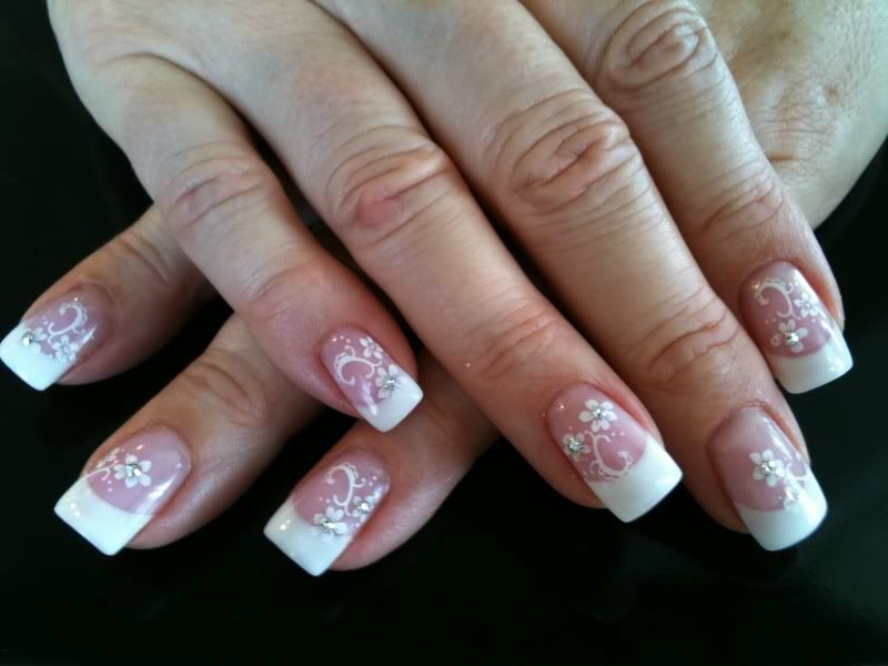 Beautiful LCN Pink and White Gel nails with Konad nail art. www ...
