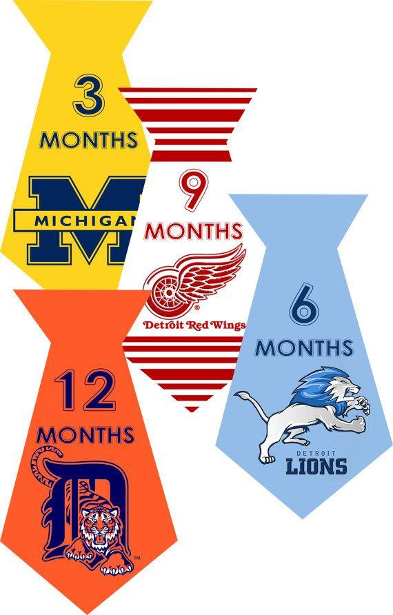 INSTANT DOWNLOAD-4 University Sports Detroit Tigers Lions Red Wings Michigan Baby Boy Monthly Milestone Onesie Stickers Newborn Shower Gift