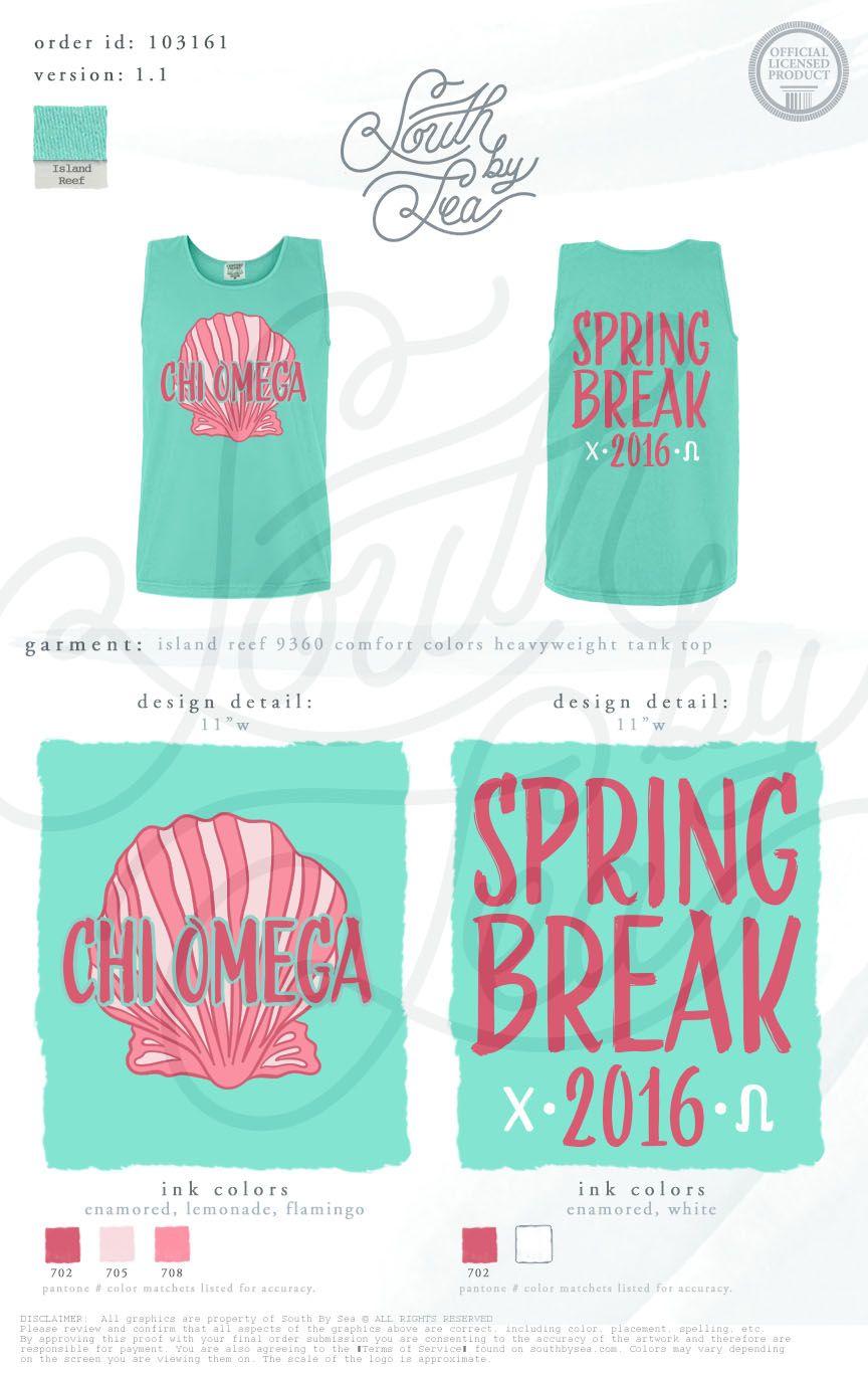Design your own t-shirt for less - Chi Omega Chi O Spring Break T Shirt Design Seashell T