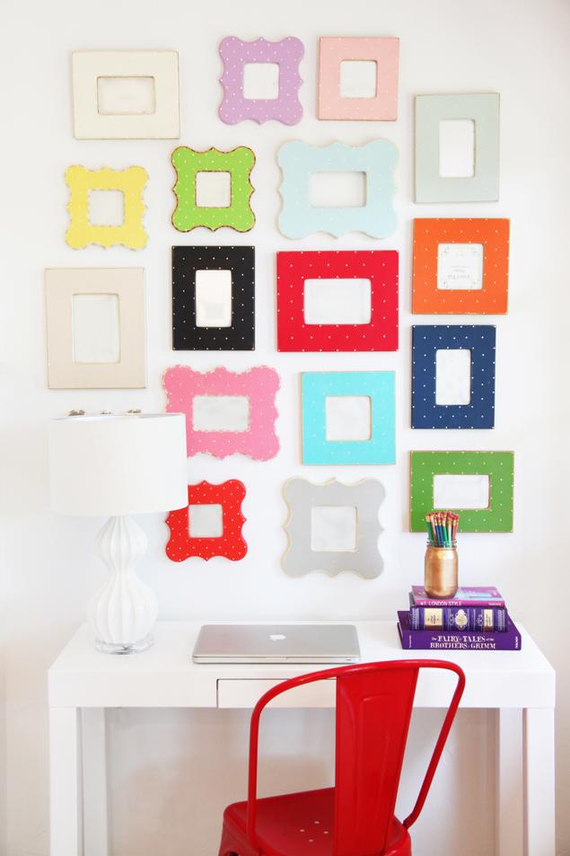 Gallery Wall Of Colorful Frames Http Www Pencilshavingsstudio