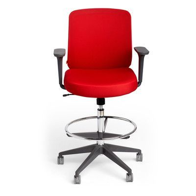 Poppin Mid Back Mesh Drafting Chair with Arms Upholstery: