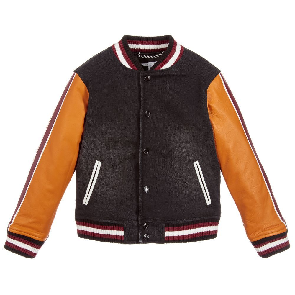 98eb72d7ed75 Cotton   Leather Bomber Jacket for Boy by Little Marc Jacobs. Discover the  latest designer Coats   Jackets for kids