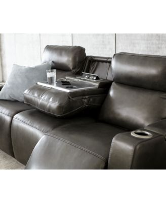 Oaklyn 84 Leather Sofa With Recliners Headrests Usb Outlet And