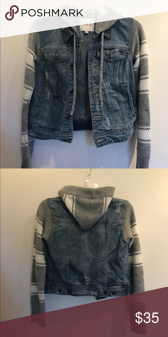 Nordstrom Denim Jacket Super cute denim jacket with knit sleeves and hood from Nordstrom. I've only worn it once or twice, so the condition is basically like new! Nordstrom Jackets & Coats Jean Jackets