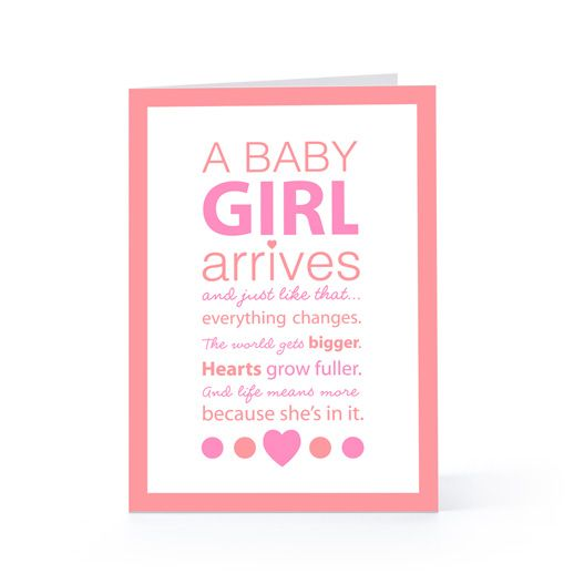 Baby Card Saying For Baby Girls  Card    Baby Cards