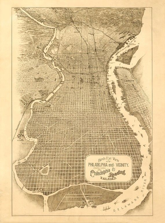 Antique Maps Philadelphia Vintage Map   Philadelphia, Pennsylvania 1870   Vintage maps
