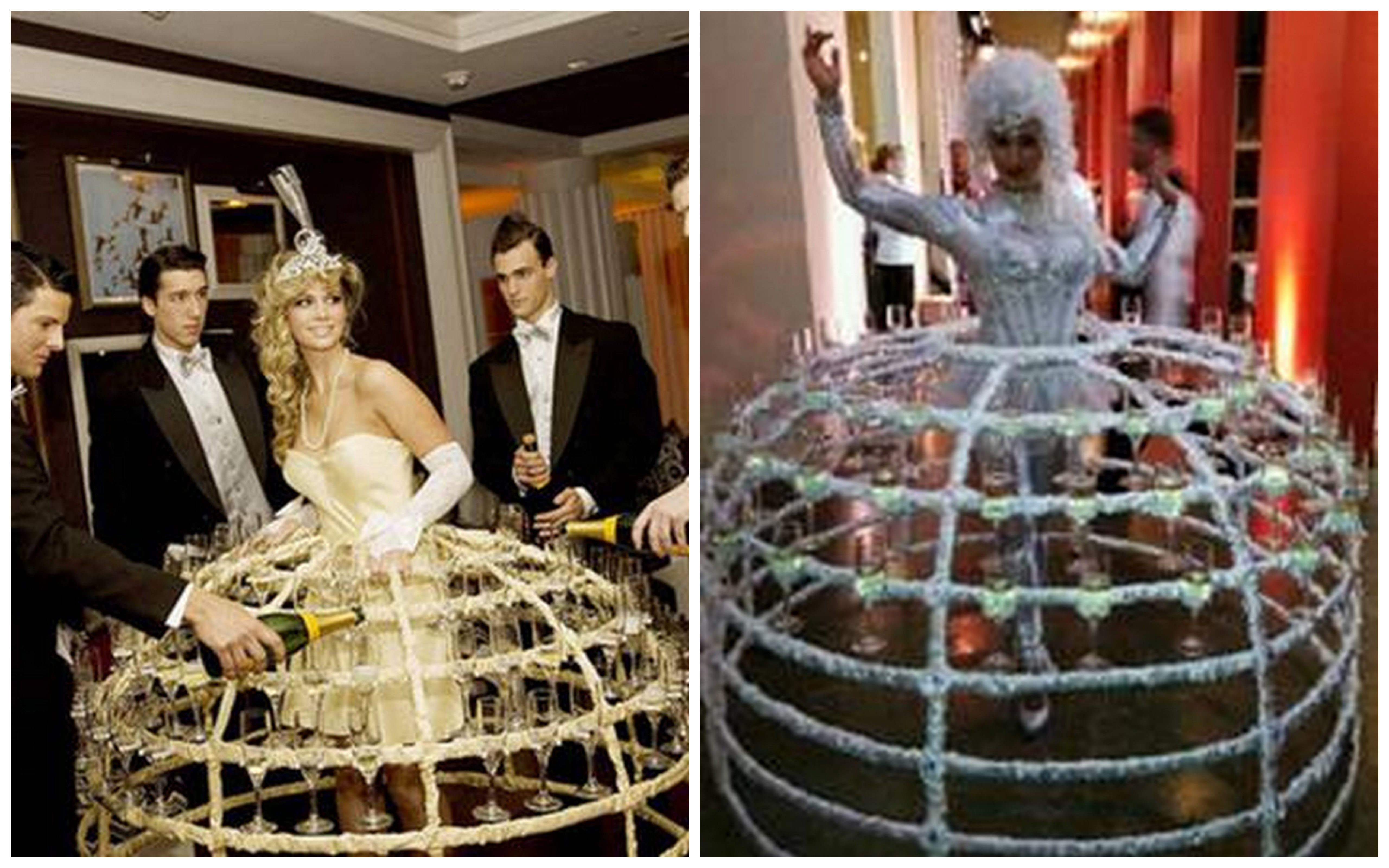 Unique Wedding Ideas Champagne Dresses and Aerial Bartenders