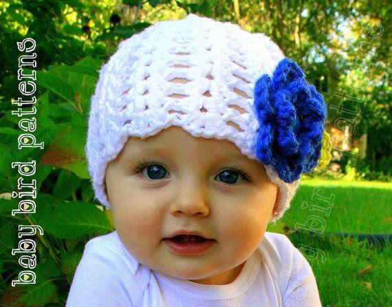 Girls Crochet Flower Hat Pattern For Babies By Babybirdpatterns