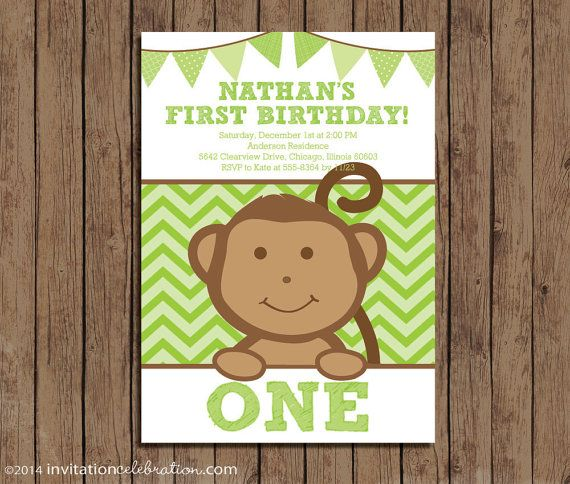 Monkey First Birthday Invitation  PRINTABLE  by InvitationCeleb #monkey #first #birthday #chevron #green