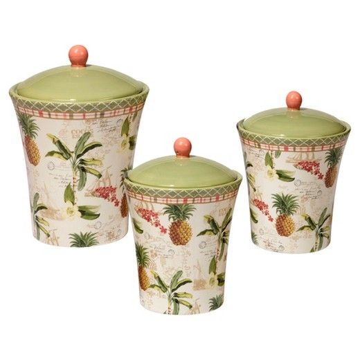 Certified International Floridian By Katie Pertiet Ceramic 3pc Canister Set White Target