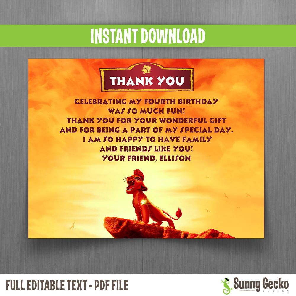 The Lion Guard Birthday Thank You Cards in 2020 Birthday